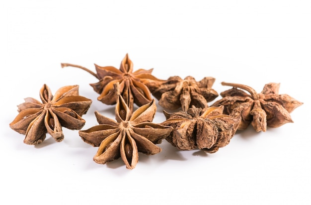 Star anise on white background Free Photo