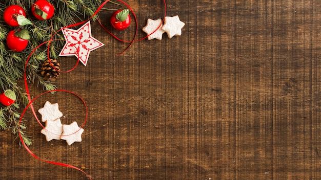 Star cookies with branches and apples Free Photo