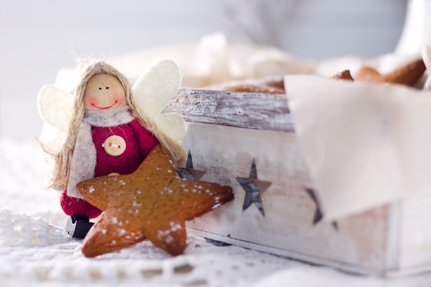 Star shaped gingerbread. cookies for santa. rustic style breakfast. Premium Photo
