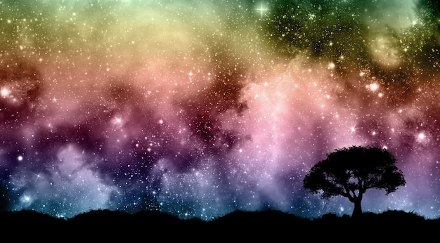 Starfield night sky with tree silhouettes Free Photo