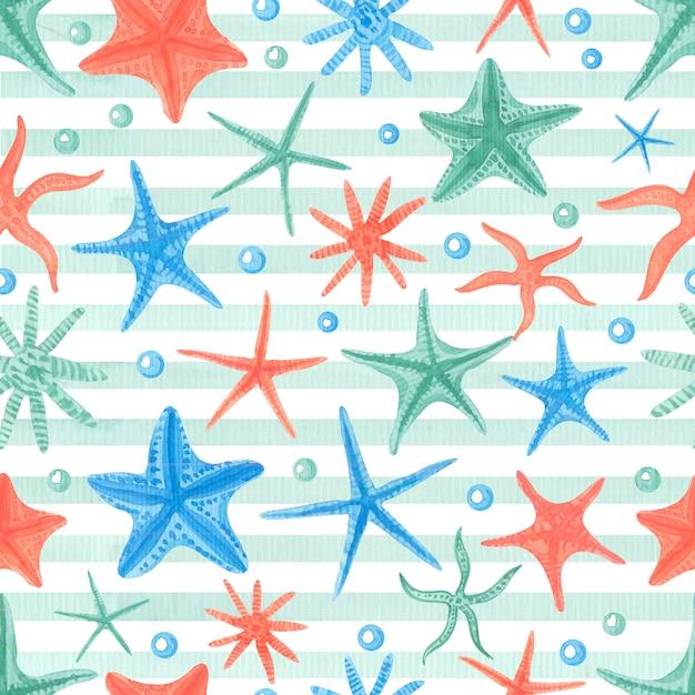 Акварель бесшовные модели с starfishes. Premium Фотографии