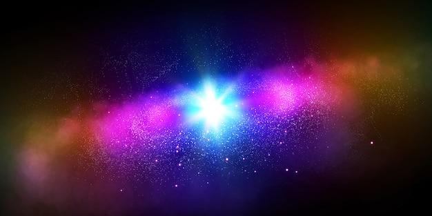 Звезды, планета и галактика в открытом космосе Premium Фотографии