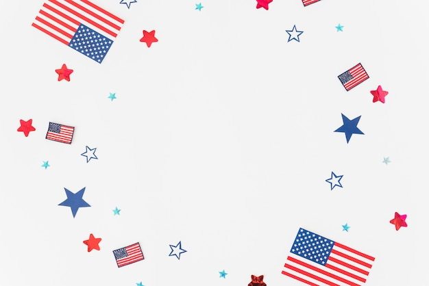 Stars, stripes and flags on white background Free Photo