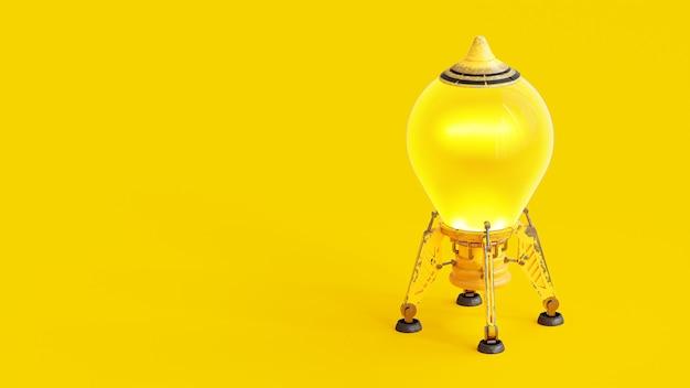 起動と最小限のコンセプト。テキストのクリッピングパスとコピースペースを備えた黄色の電球のようなロケット、3dレンダー。 Premium写真