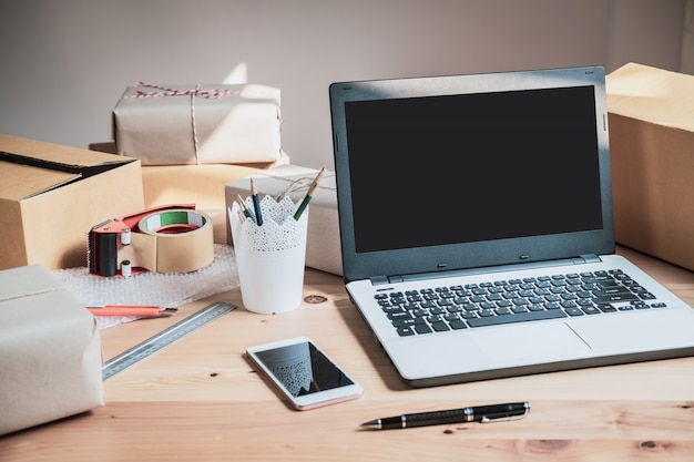 Startup small business entrepreneur desk at home, online business and delivery concept Premium Photo