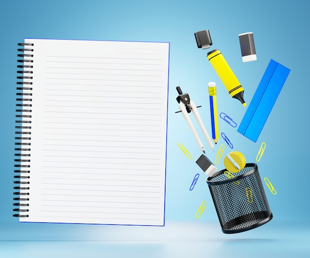 The stationary or office equipment and blank notebook floating on a blue Premium Photo