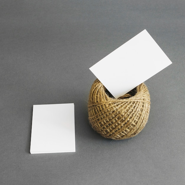 Stationery concept with business cards and rope Premium Photo