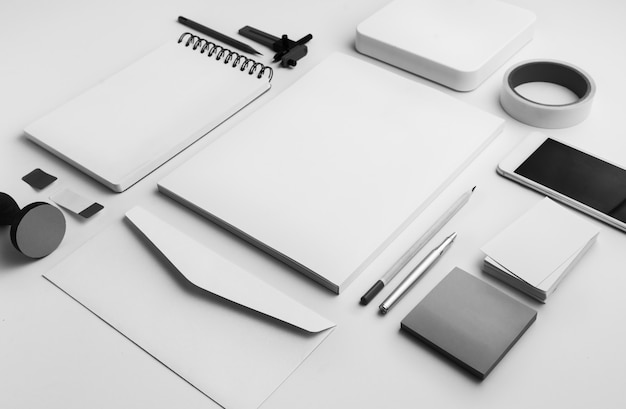 Stationery isolated on white Premium Photo