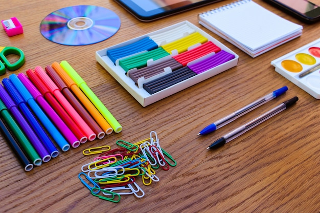Stationery objects. office and school supplies on the table. back to school. Premium Photo
