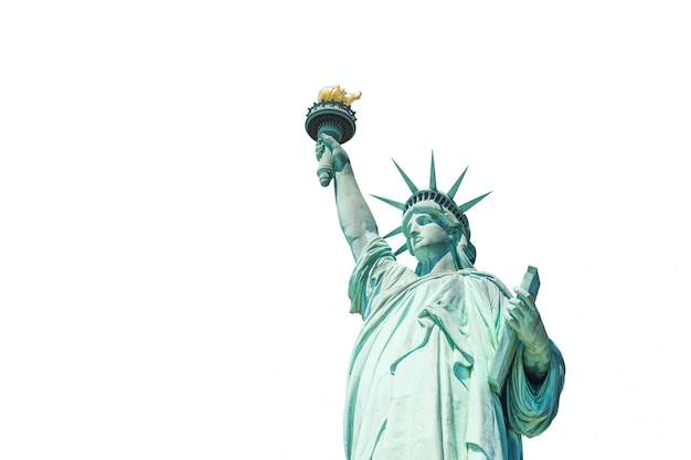 The statue of liberty isolated on white background Premium Photo