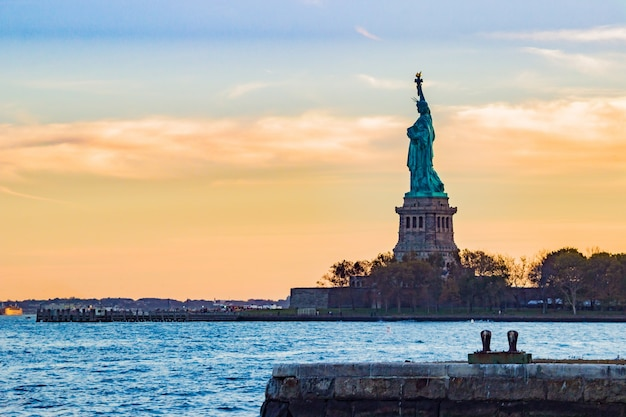 Statue of liberty seen from afar Free Photo