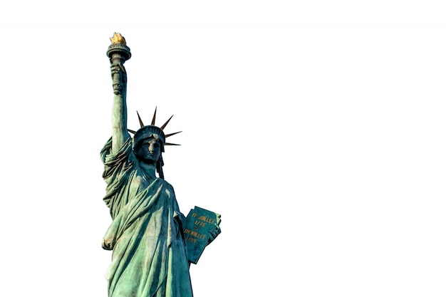 Statue of liberty on white background, isolate include clipping path, located at odaiba tokyo, japan Premium Photo