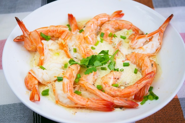 Premium Photo | Steam egg and milk with shrimp