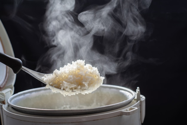 The steam from man taking tasty rice with spoon from cooker in kitchen, jasmine rice cooking in electric rice cooker with steam. selective focus, Premium Photo