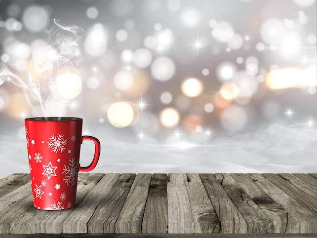 Steaming christmas mug against a bokeh lights background Free Photo