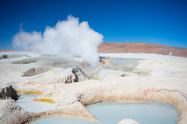 Steaming hot wer ponds on the andes, bolivia Premium Photo