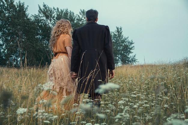 Steampunk fairy tale magic of a couple in love Premium Photo