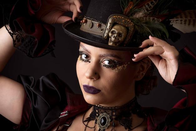 Steampunk young woman emotional portrait Premium Photo