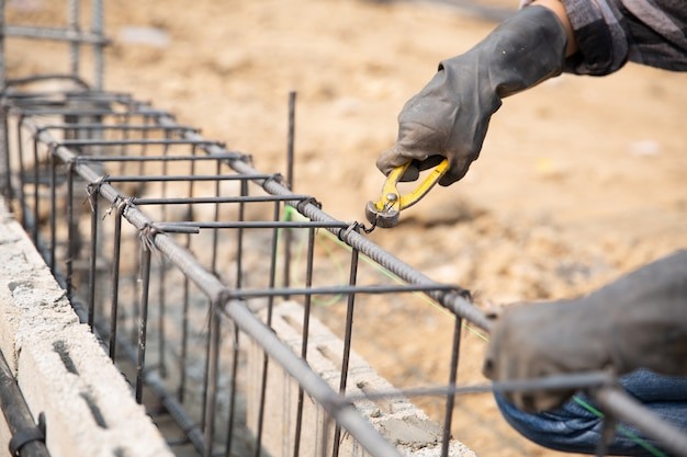 Steel bar on site of construction Free Photo
