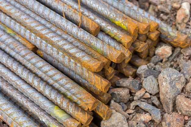 Steel bars used in construction, steel bars Premium Photo
