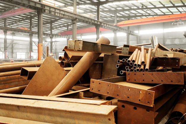 Steel factory stacked steel Premium Photo