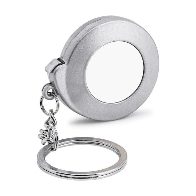 Steel key chain isolated on white background  blank keyring