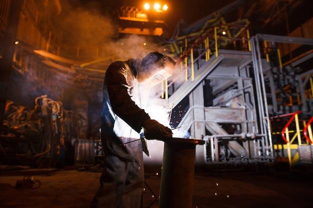 Steel production in electric furnaces Premium Photo