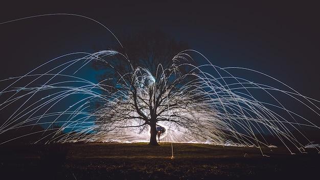 Filatura di lana d'acciaio sopra il terreno vicino a un albero durante la notte Foto Gratuite