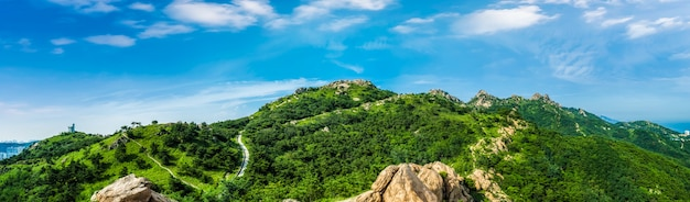 The steep top of fushan mountain in qingdao Premium Photo
