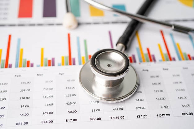 Stethoscope on charts and graphs spreadsheet paper Premium Photo