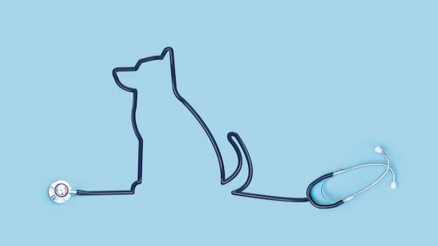 Stethoscope with dog outline tube Premium Photo
