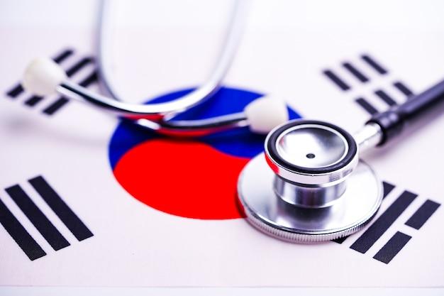 Stethoscope with korea flag. Premium Photo