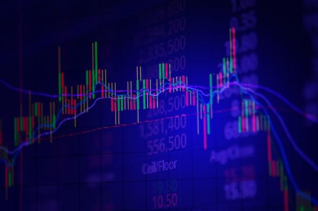 Свеча stick диаграмма graph экрана биржевого рынка торговли. Premium Фотографии