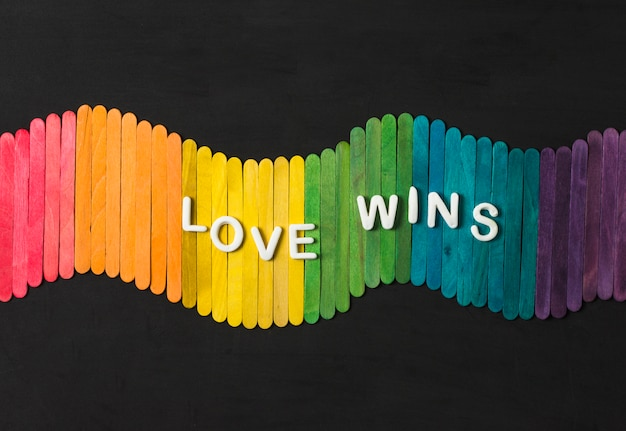 Sticks in bright lgbt colors and love wins words Free Photo