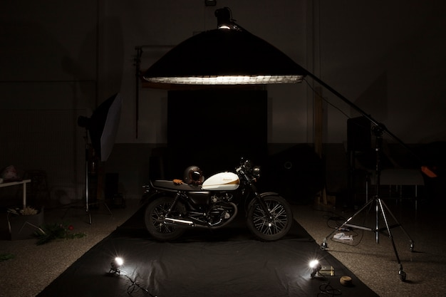 Still life of cafe racer style motorbike Free Photo