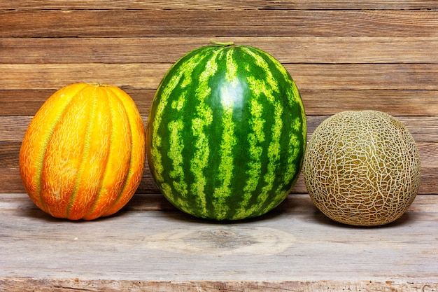 Still life of different varieties of melon, watermelon on old wooden retro Premium Photo