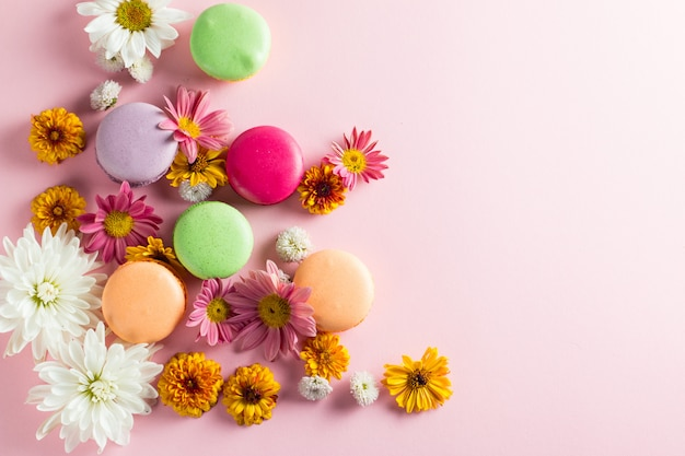 Still life and food photo of cake macarons in a gift box with flowers, a cup of tea on light background. sweets and desserts concept of macaroons. Premium Photo