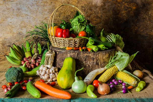 Still life  vegetables, herbs and fruit. Premium Photo