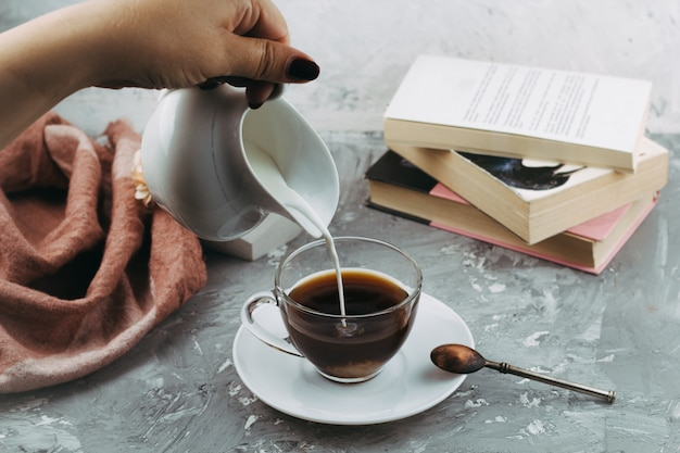 Still life with cup of drink Premium Photo