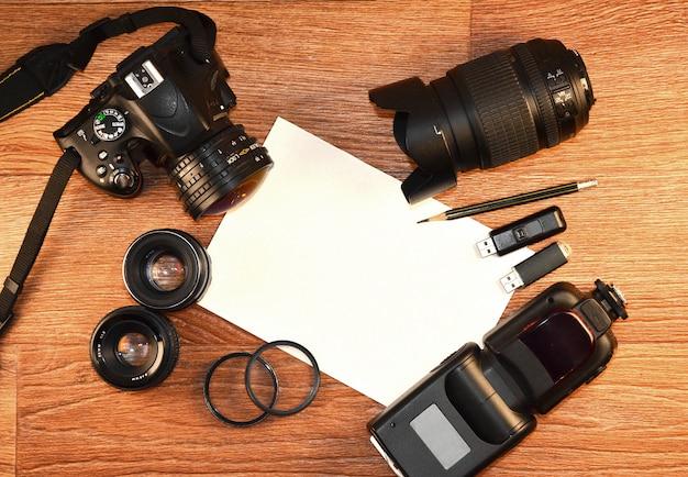 Still life with digital photocamera kit Premium Photo