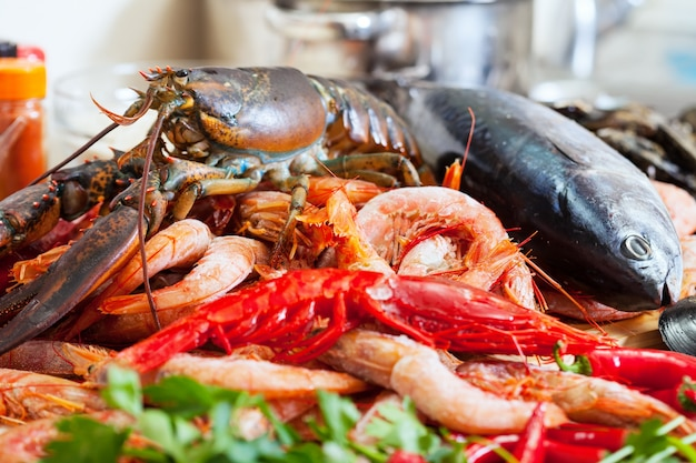 Still life with uncooked seafoods Free Photo