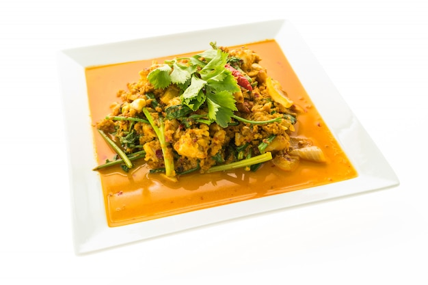 Stir fried crab with curry Free Photo