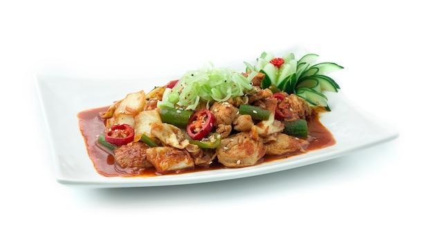 김치 볶음 돼지 고기 한식 스타일 꾸미기 프리미엄 사진