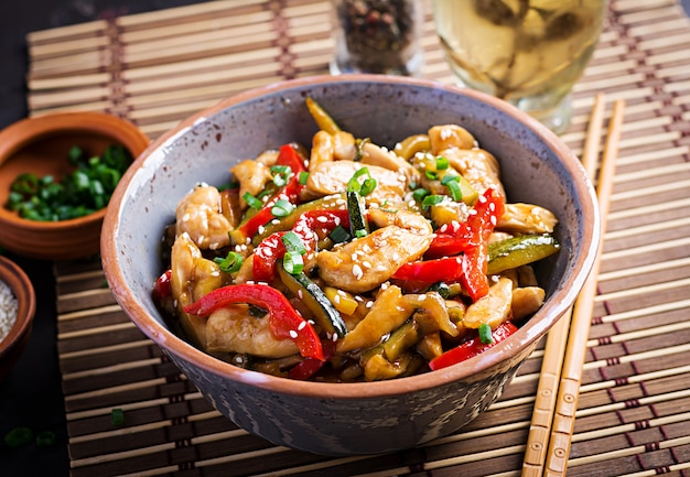 Stir fry chicken, zucchini, sweet peppers and green onion Free Photo