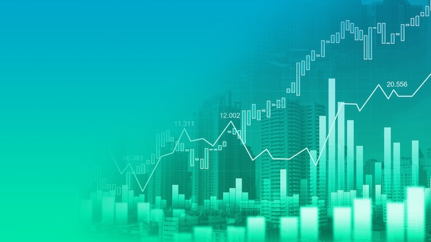 Stock market or forex trading graph in graphic double exposure Premium Photo