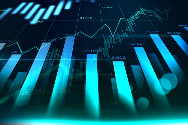Stock market or forex trading graph in graphic Premium Photo