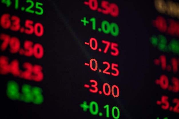 株式市場での投資ビジネス分析ファイナンスのための画面モニター上の株式市場グラフデータボードの数値ティッカーのマネー価格- Premium写真