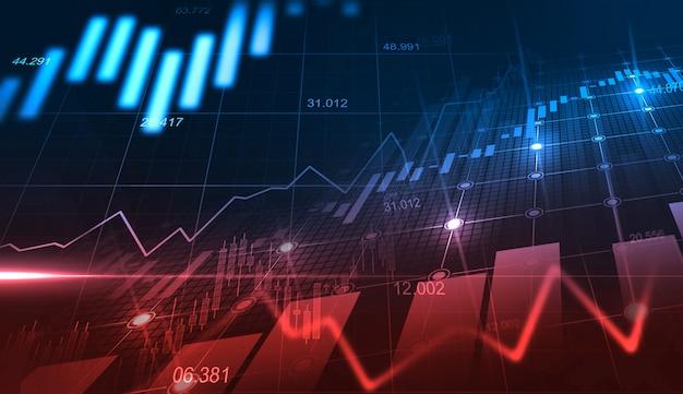 金融投資または経済動向のビジネスアイデアとすべての芸術作品のデザインに適したグラフィックコンセプトの株式市場または外国為替取引グラフ。金融の抽象的な背景 Premium写真