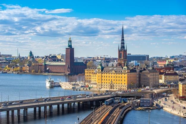 Stockholm skyline with view of gamla stan in stockholm, sweden. Premium Photo