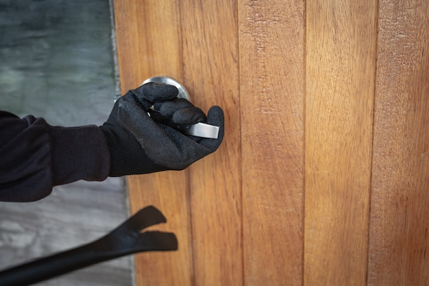 Stole the house door using iron. Free Photo